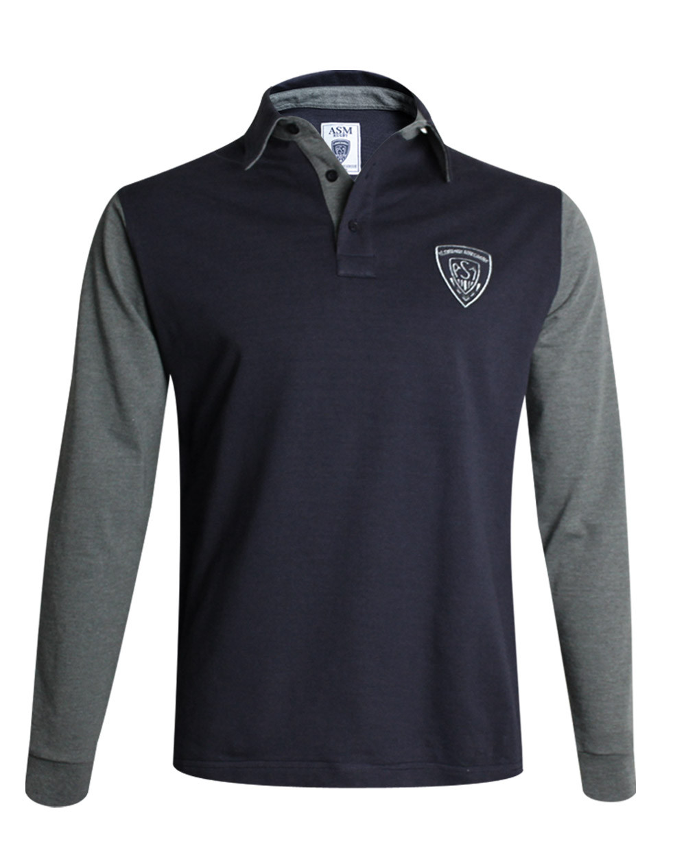 Polo BRYAN ASM marine manches longues grises homme