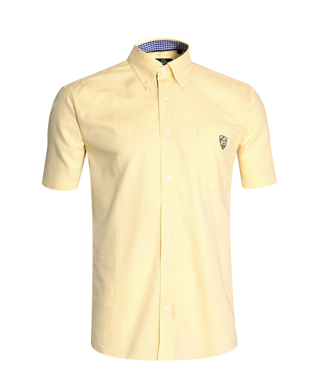 Chemise Oxford ASM manches courtes jaune clair homme